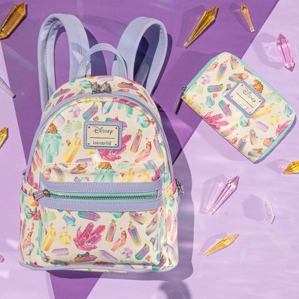 Loungefly Disney Crystal Sidekicks AOP Mini Backpack and Wallet