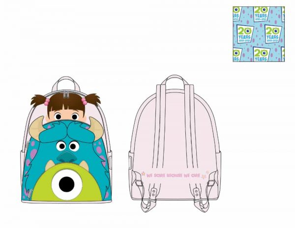 Loungefly Disney Pixar Monsters Inc Boo Mike Sully Cosplay Mini Backpack - pre-order July 2021 arrives August 2021