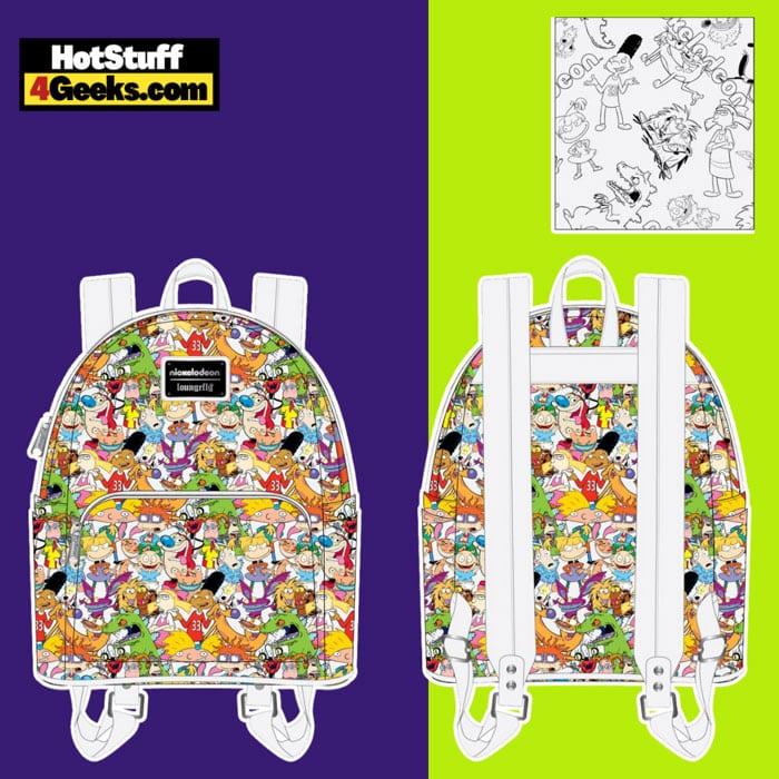 Loungefly Nickelodeon NickRewind Gang AOP Mini Backpack