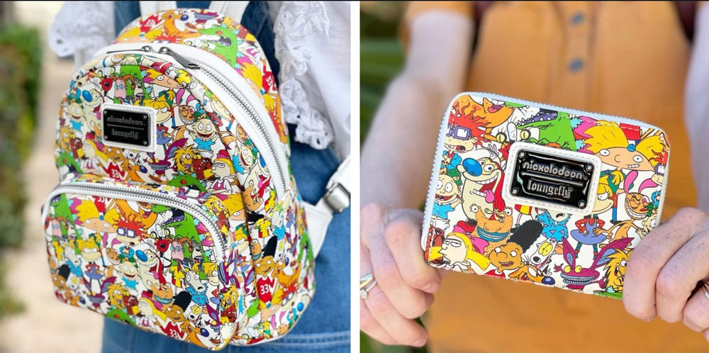 Loungefly Nickelodeon NickRewind Gang AOP Mini Backpack and Wallet