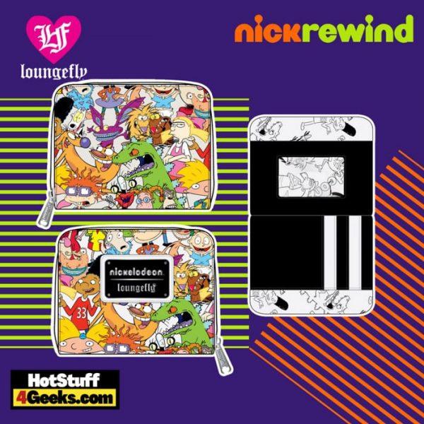 Loungefly Nickelodeon NickRewind Gang AOP Zip Around Wallet