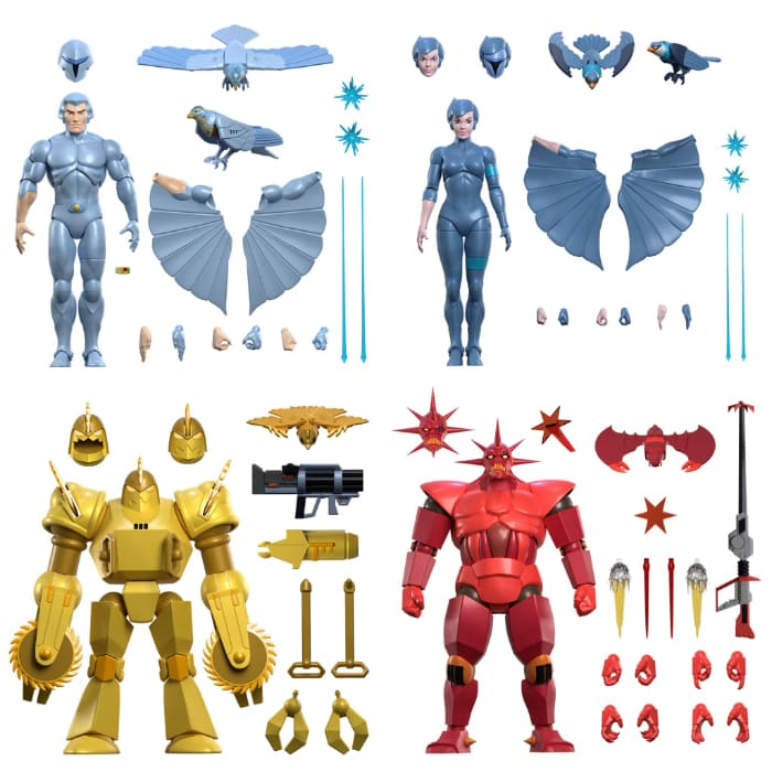Super 7: SilverHawks Ultimates 7-Inch Action Figures - Wave 1 - includes Quicksilver, Steelheart, Mon*Star, and Buzz-Saw