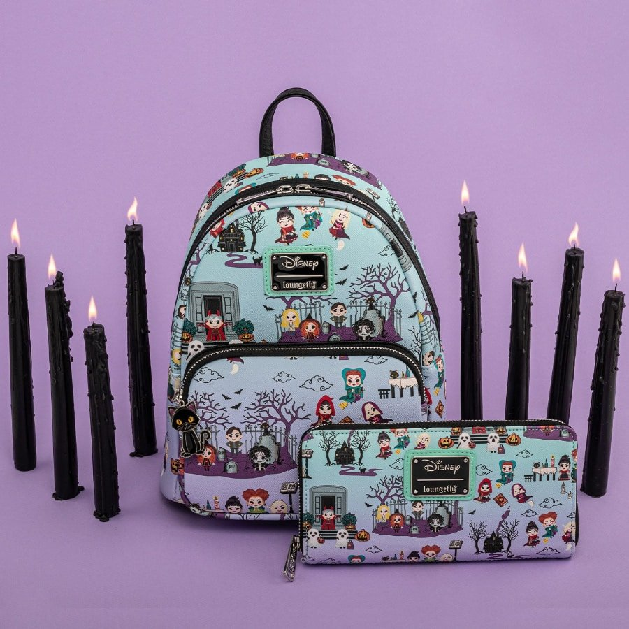 Loungefly Disney Hocus Pocus Scene AOP Mini Backpack and Wallet