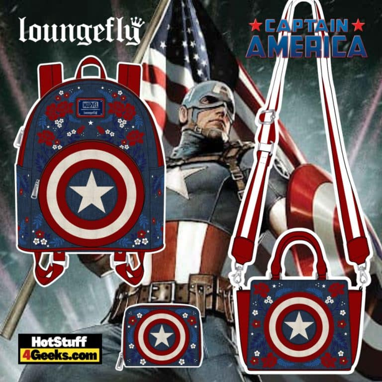 Loungefly Marvel Captain America 80th Anniversary: Floral Shield Mini Backpack, Crossbody Bag, and Wallet - pre-order August arrives September 2021