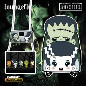 Loungefly Universal Monsters: Frankenstein and Bride of Frankenstein and Chibi Line Mini Backpack, Crossbody and Wallet - pre-order August arrives September 2021