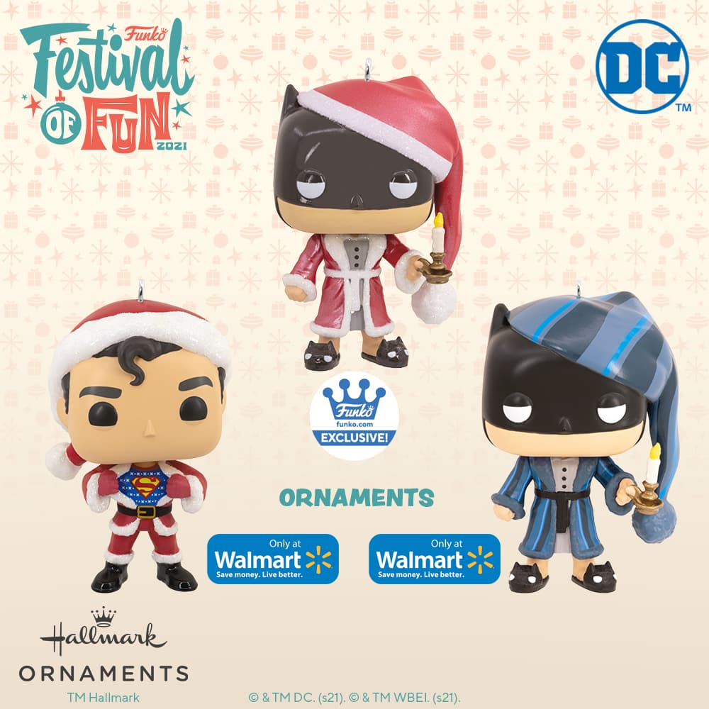 Funko DC - Superman in Holiday Sweater and Santa Suit Christmas, and Batman as Ebenezer Scrooge Christmas Hallmark ornaments