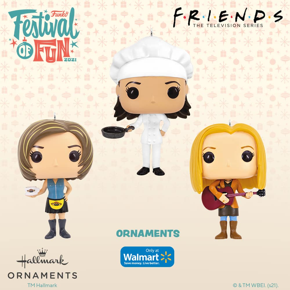 Funko Friends - Phoebe Buffay, Rachel Green, and Monica Geller Christmas Hallmark ornaments