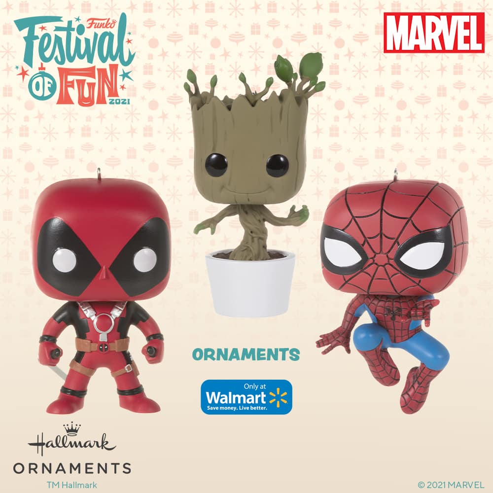 Funko Marvel - Deadpool and Spider-Man Christmas Hallmark ornaments