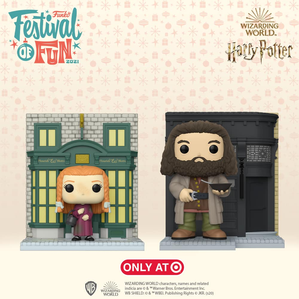 Funko POP! Deluxe: Harry Potter Diagon Alley - Ginny with Flourish & Blotts Storefront, and The Leaky Cauldron with Hagrid Funko Pop! Vinyl Figures