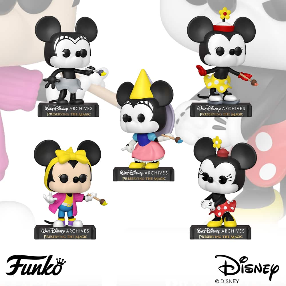 Funko Pop! Disney Archives: Minnie Mouse: Plane Crazy Minnie (1928), Minnie on Ice (1935), Princess Minnie (1938), Totally Minnie (1988), Minnie (2013) Funko Pop! Vinyl Figures