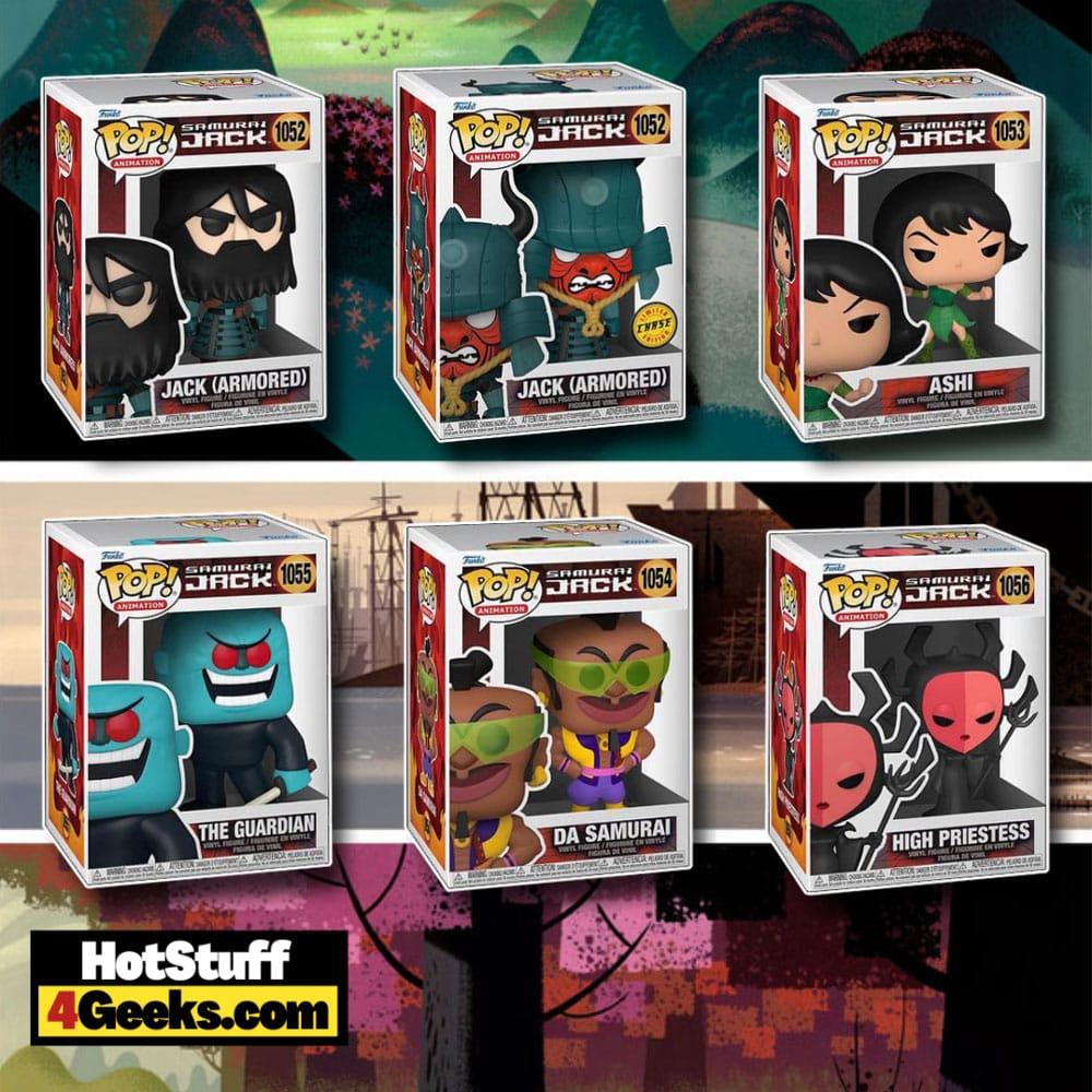 Funko Pop! Animation: Samurai Jack: Jack (Armored) With Chase Variant, Ashi, The Guardian, Da Samurai, and Hight Priestess Funko Pop! Vinyl Figures