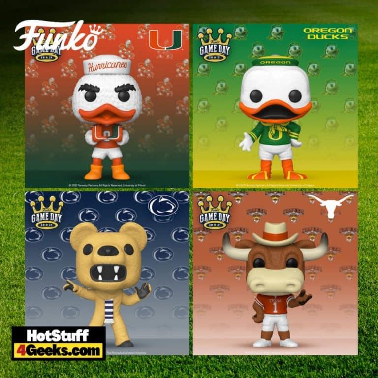 Funko Pop! College Mascots: University of Miami - Sebastian the Ibis, Universe of Oregon - The Oregon Duck, Penn State - Nittany Lion, and the University of Texas - Bevo Pop! Vinyl Figures