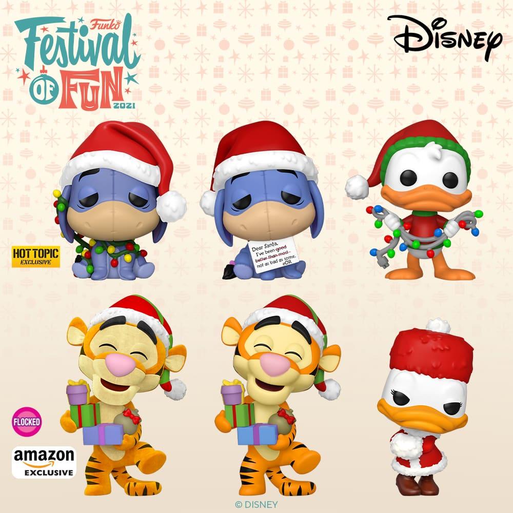Funko Pop! Disney Holiday 2021: Daisy Duck, Donald Duck, Eeyore, Tigger, Tigger (Flocked), Winter Stitch & Angel 2-Pack, and Eeyore With Lights Funko Pop! Vinyl Figures - Funko Festival of Fun 2021