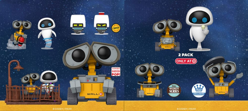 Funko Pop! Disney Pixar: Wall-E and Eve, Wall-E Jumbo 10-Inch, Mo With Chase, Wall-E with Fire Extinguisher, Charging Wall-E, and Cooler Wall-E & Bulb Eva 2- pack Funko Pop! Vinyl Figures