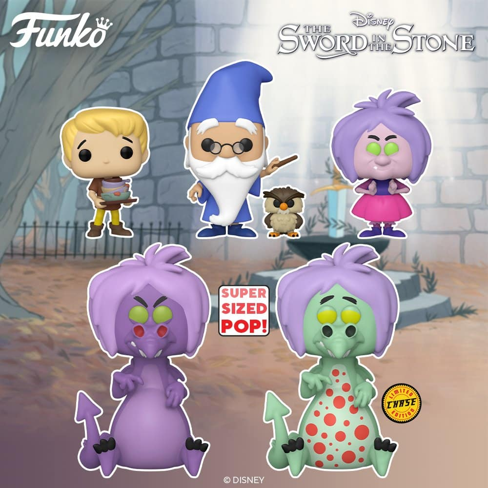Funko Pop! Disney: The Sword in the Stone: Madam Mim, Arthur, Merlin with Archimedes, and Mim as Dragon 6-Inch With Chase Funko Pop! Vinyl Figures