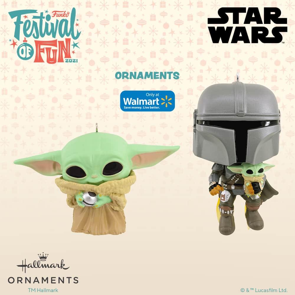 Funko Star Wars - Grogu and Mandalorian with The Child Christmas Hallmark ornaments