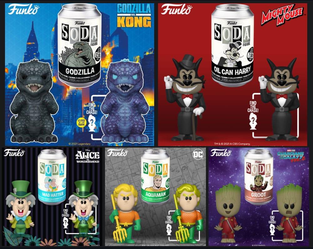 Funko Vinyl Soda: Aquaman, Godzilla, Oil Can Henry, Mad Hatter, and Little Groot Vinyl Soda Figures