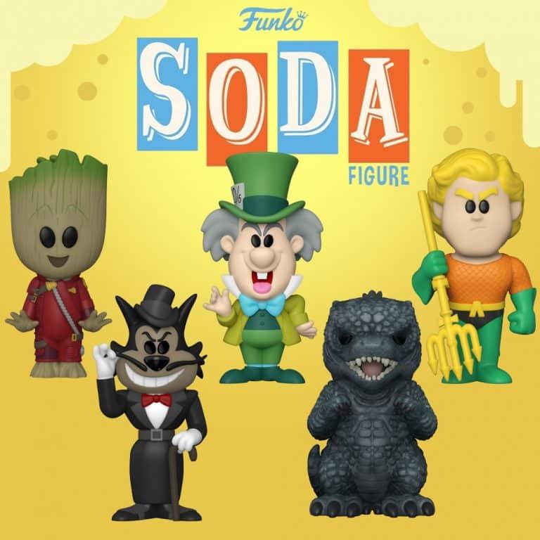 Funko Vinyl Soda Aquaman, Godzilla, Oil Can Henry, Mad Hatter, and Little Groot Vinyl Soda Figures