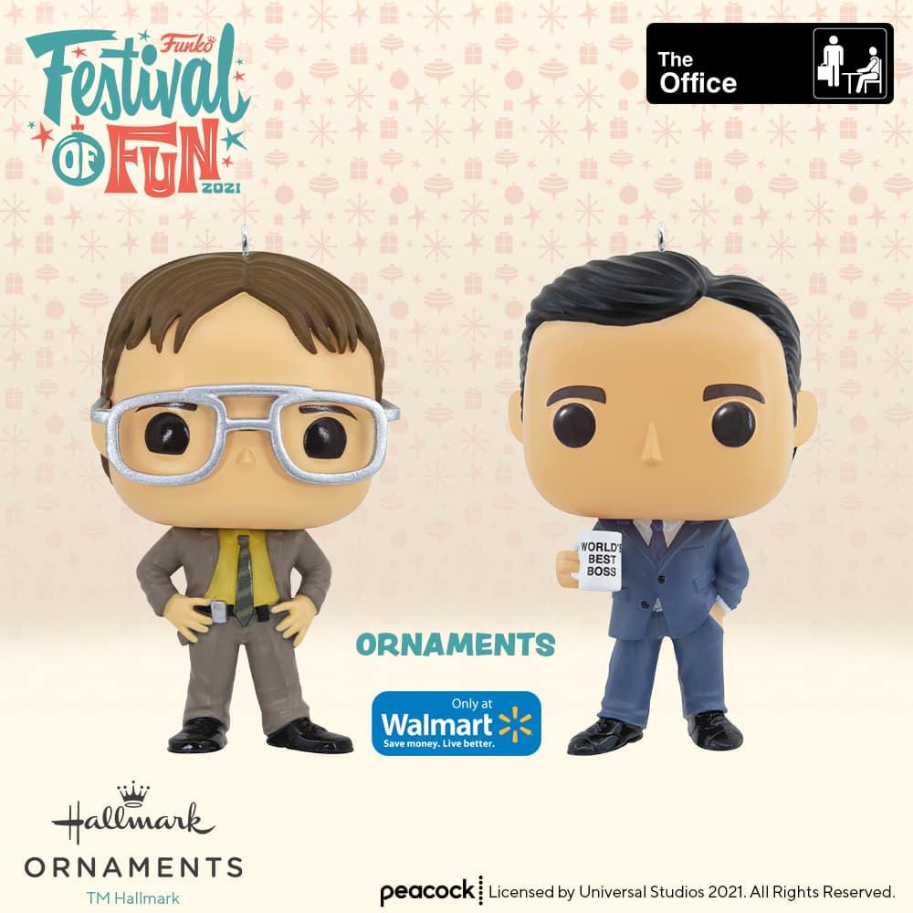 Funko the Office - Dwight Schrute and Michael Scott Christmas Hallmark pop ornaments