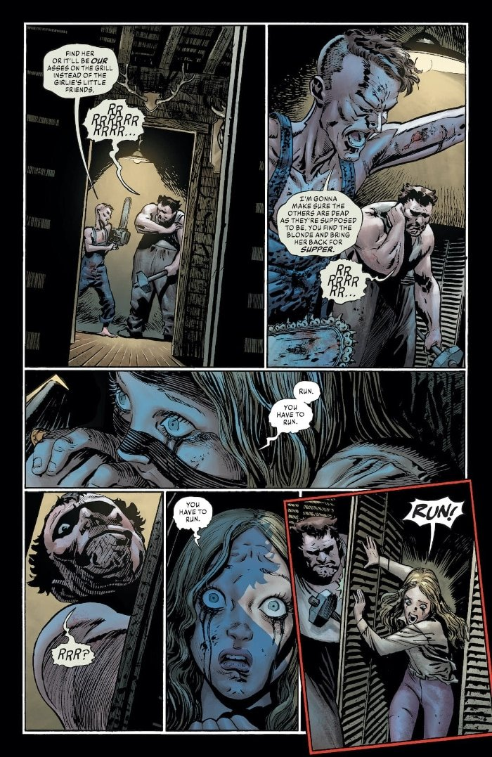 With chainsaw and meat hammer, brothers Billy and Buddy Sampson, from The Joker #6, pay homage to the cannibals in The Texas Chainsaw Massacre movie.
