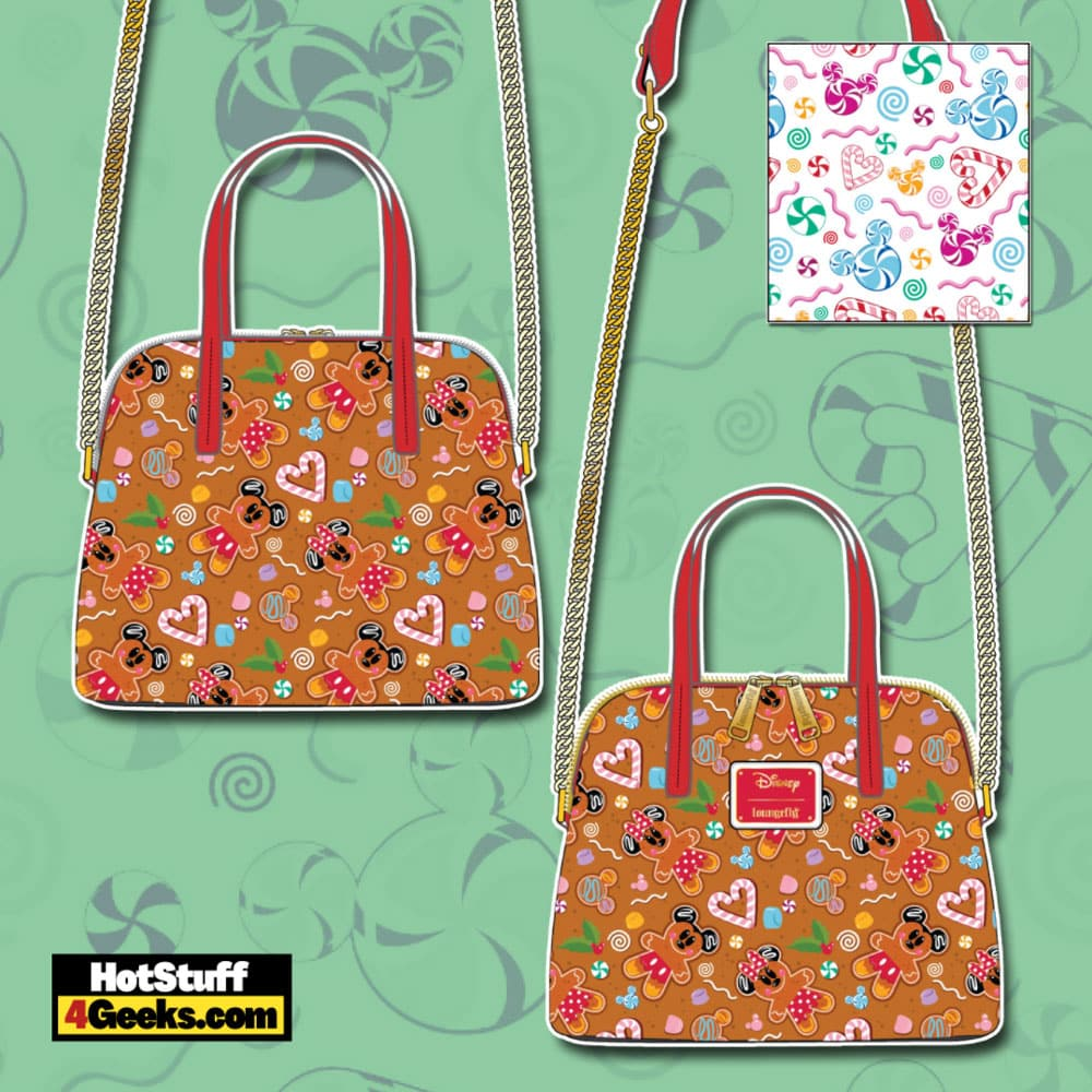 Loungefly Disney Christmas Gingerbread Mickey and Minnie Mouse Crossbody Bag
