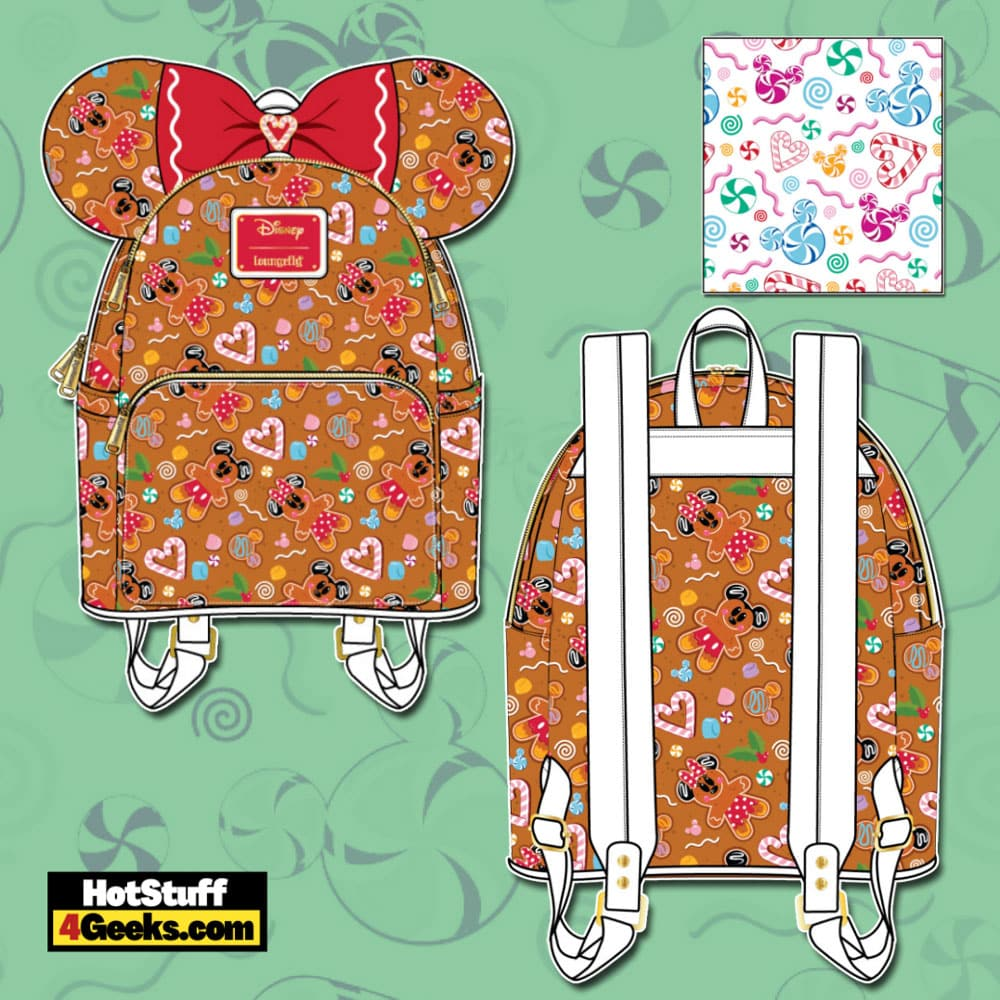 Loungefly Disney Christmas Gingerbread Mickey and Minnie Mouse Mini Backpack with Ears Headband