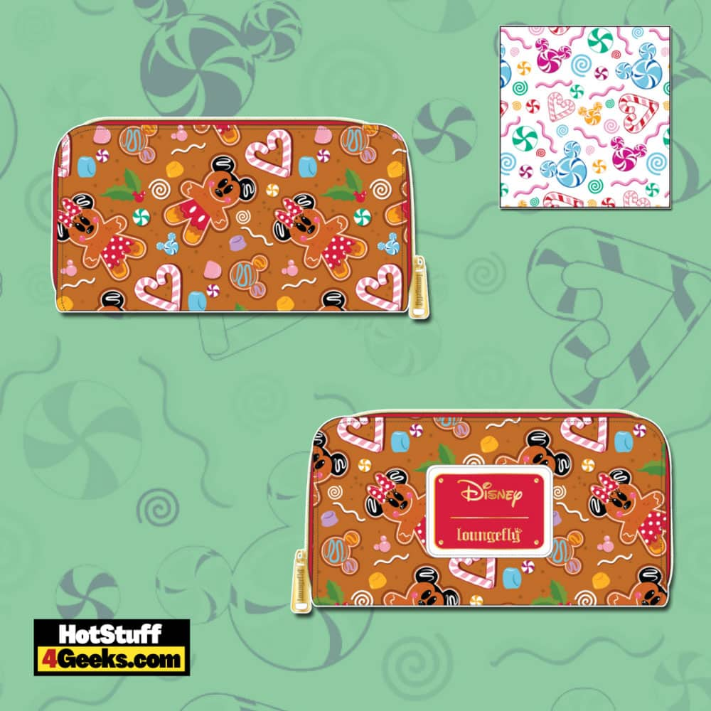 Loungefly Disney Christmas Gingerbread Mickey and Minnie Mouse Zip Around Wallet