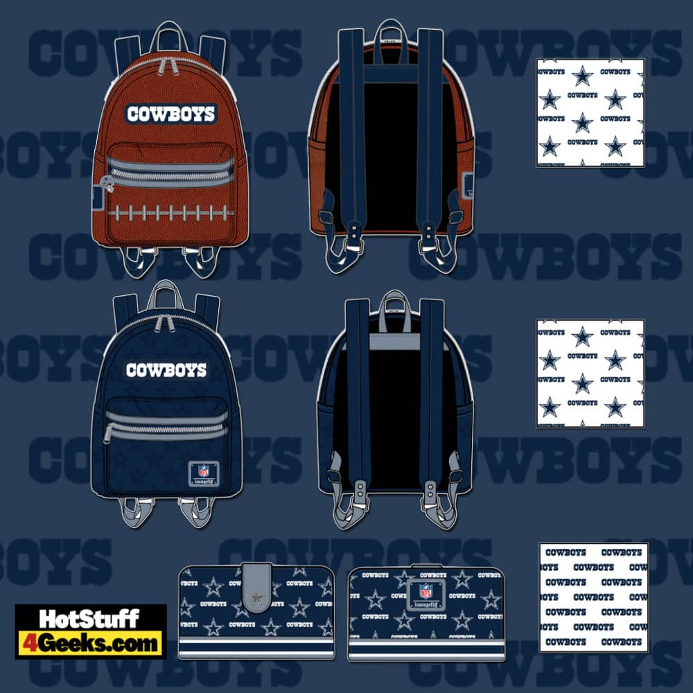 Loungefly NFL Dallas Cowboys Pigskin Logo Mini Backpack and Wallet