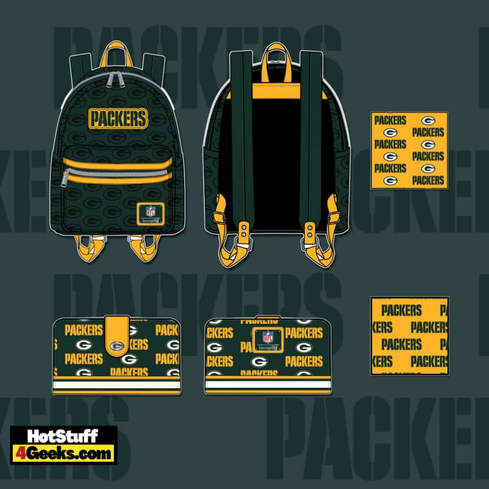 Loungefly NFL Green Bay Packers Logo Mini Backpack and Wallet