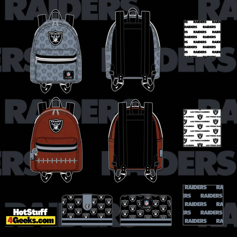 Loungefly NFL Las Vegas Raiders Pigskin Logo Mini Backpack and Wallet