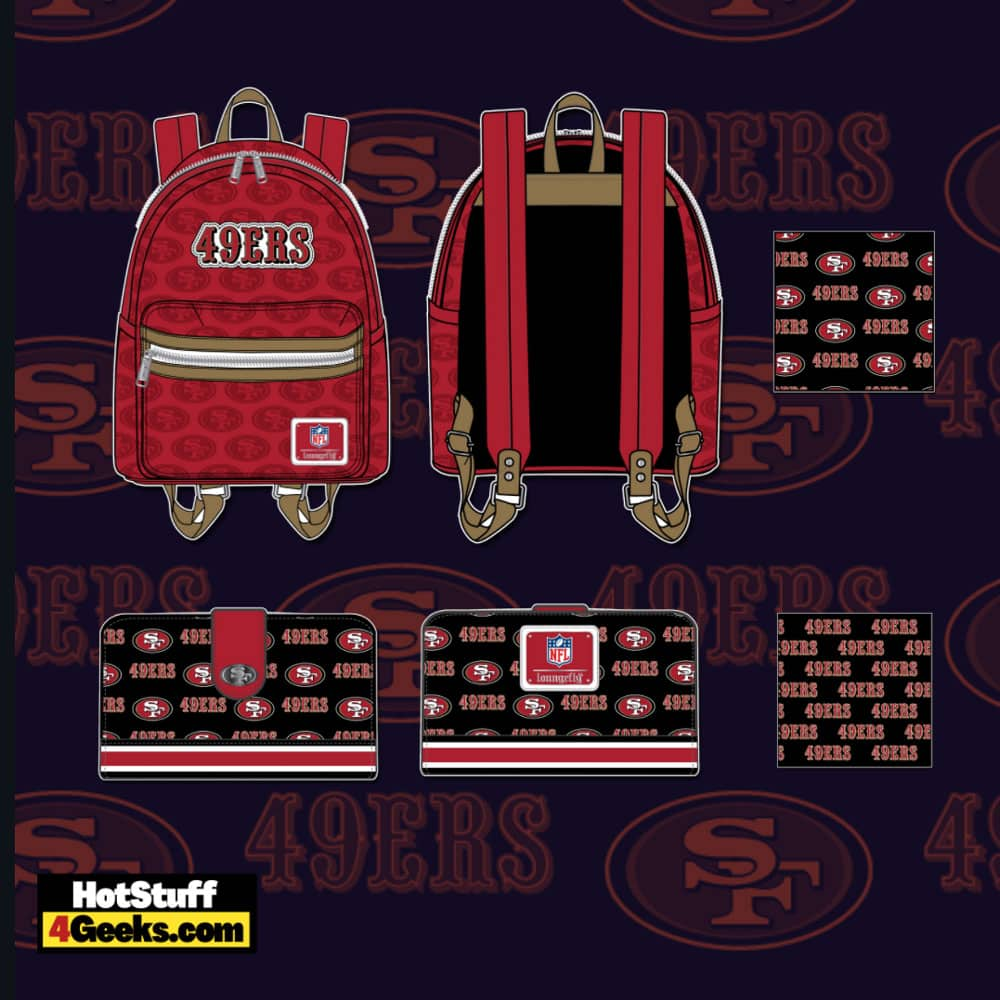 Loungefly NFL San Francisco 49ers Logo Mini Backpack and Wallet
