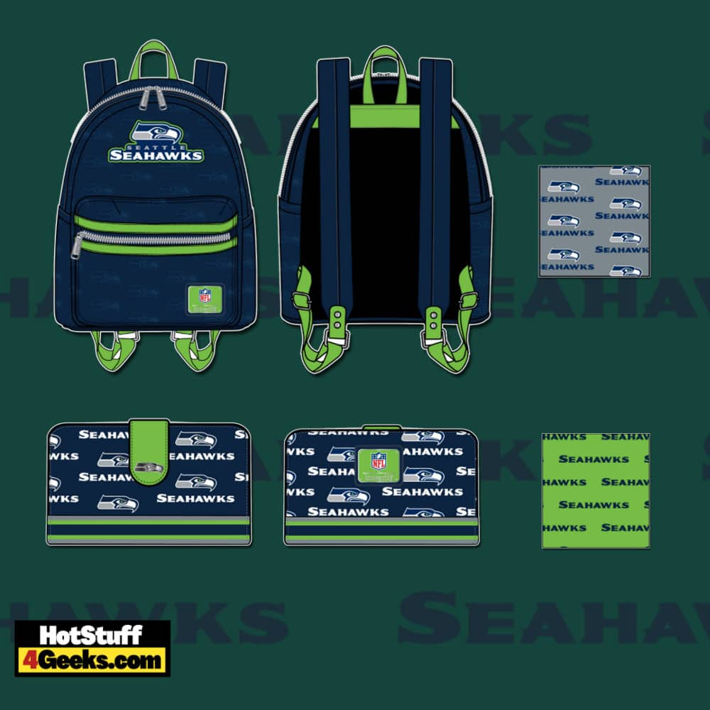 Loungefly NFL Seattle Seahawks Logo Mini Backpack and Wallet