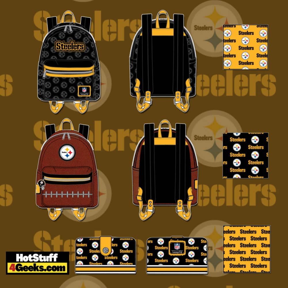 Loungefly NFL Pittsburgh Steelers Pigskin Logo Mini Backpack and Wallet