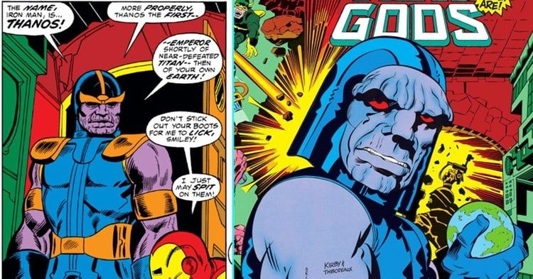 Thanos in his original appearance (left) alongside Jack Kirby's version of Darkseid (right)