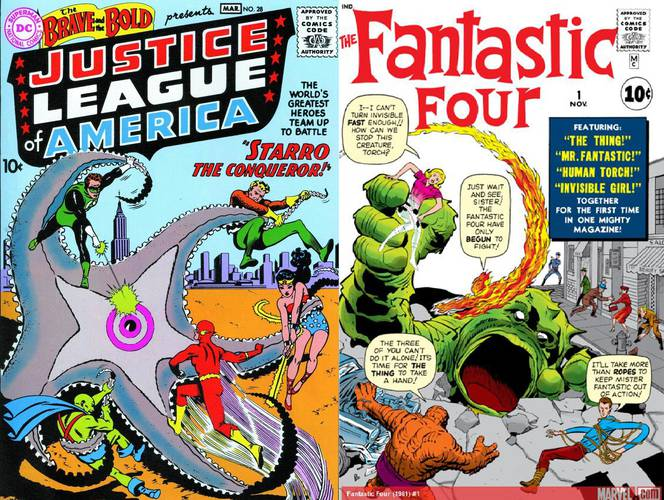 Cover comparison: The Brave and the Bold # 28 vs. Fantastic Four #1