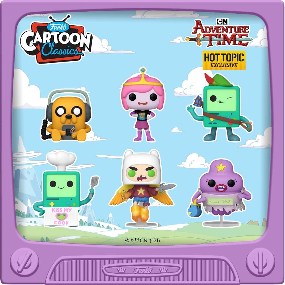 Funko Pop! Animation – Adventure Time - Jake with Player, BMO Cook, Ultimate Wizard Finn, Princess Bubblegum, and Lumpy Space Princess Funko Pop! Vinyl Figures