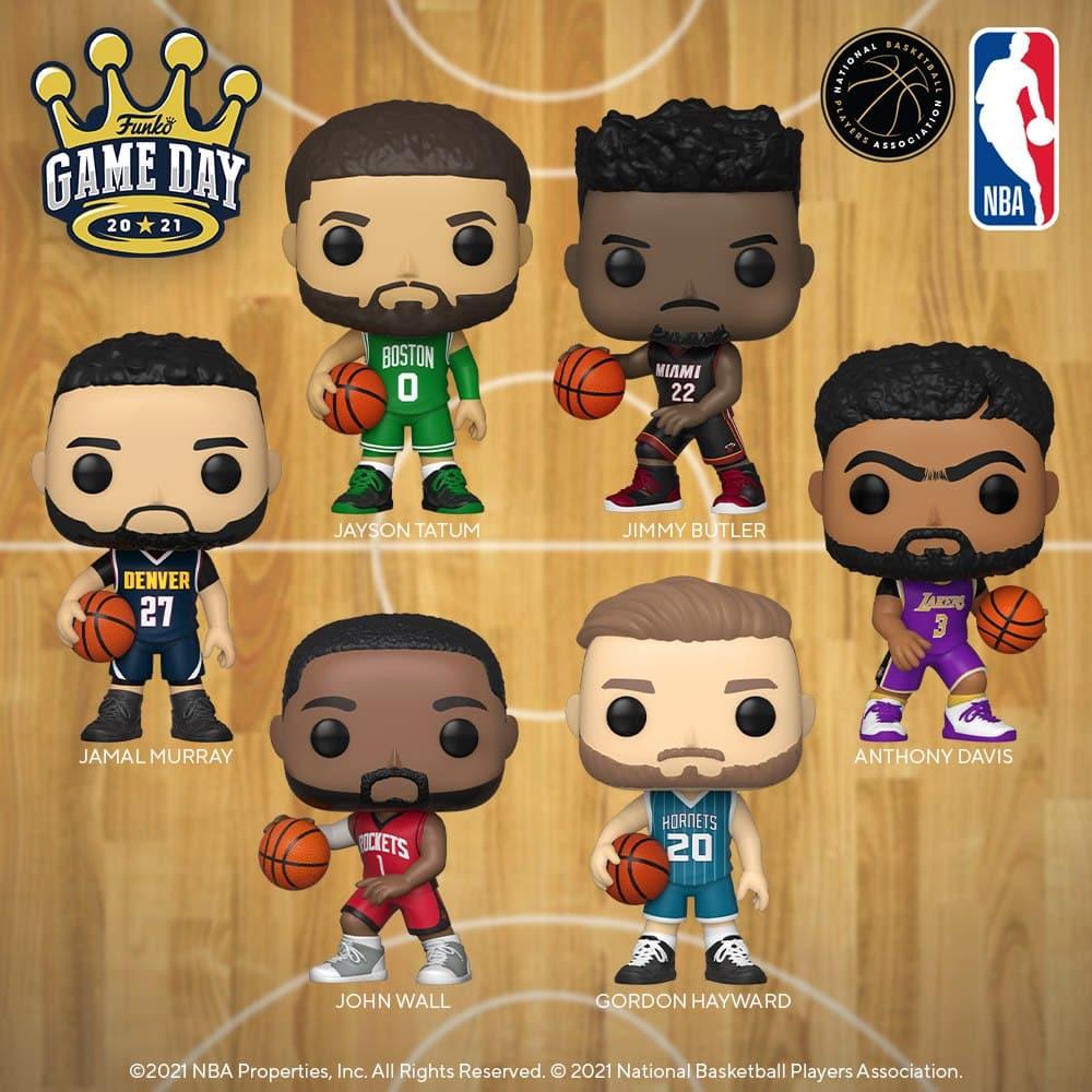 Funko Pop! Basketball: NBA - Jayson Tatum (Green Jersey), Jimmy Butler (Black Jersey), Anthony Davis (Purple Jersey), Jamal Murray (Dark Blue Jersey), Gordon Hayward (Teal Jersey), and John Wall (Red Jersey) Funko Pop! Vinyl Figures