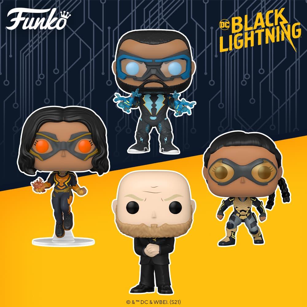 Funko Pop! DC Heroes: Black Lightning: Lightning, Thunder, Tobias Whale, and Black Lightning Funko Pop! Vinyl Figures