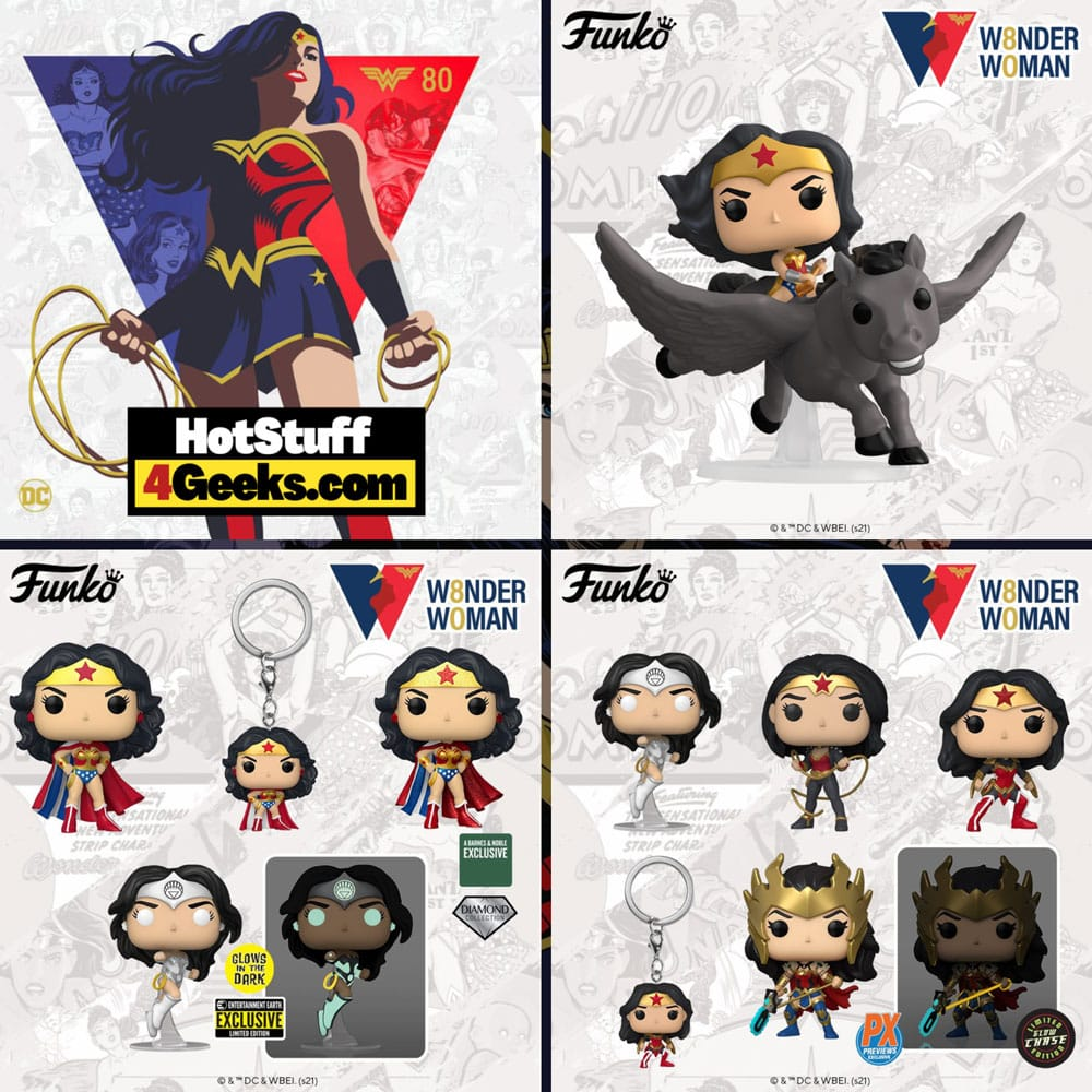 Funko Pop! DC Heroes: Wonder Woman 80th Anniversary - White Lantern, Odyssey, A Twist of Fate, Classic with Cape, Riding Pegasus, and Death Metal Wonder Woman Funko Pop! Vinyl Figures