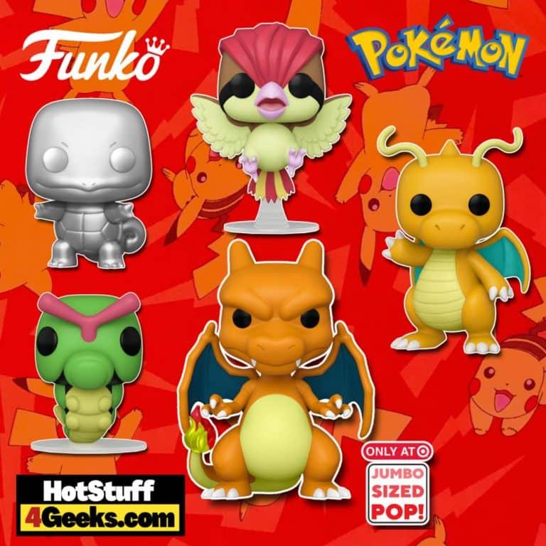 Funko Pop! Games: Pokemon - Dragonite, Pidgeotoo, Caterpie, Squirtle Metallic Silver, and Charizard 10-Inch Super Sized Funko Pop! Vinyl Figures