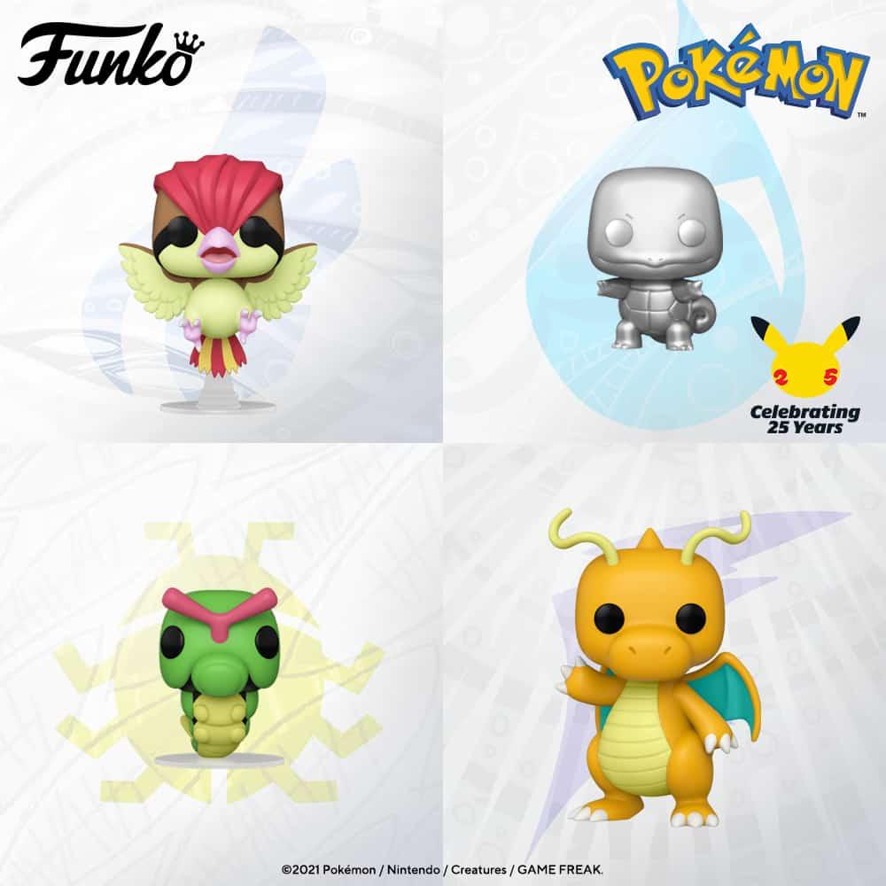 Funko Pop! Games: Pokemon - Dragonite, Pidgeotoo, Caterpie, and Squirtle Metallic Silver Funko Pop! Vinyl Figures