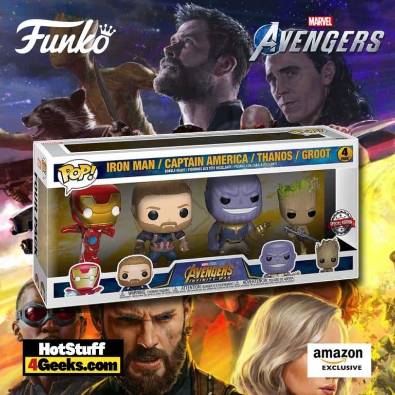 Funko Pop! Marvel: Avengers: Infinity War - Iron Man, Captain America, Thanos, and Groot 4-pack Funko Pop! Vinyl Figures - Amazon Exclusive