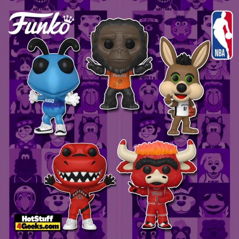 Funko Pop! NBA Mascots: Benny the Bull (Chicago Bulls), Go-Rilla (Phoenix Suns), The Coyote (San Antonio Spurs), The Raptor (Toronto Raptors), and Hugo (Charlotte Hornets) Funko Pop! Vinyl Figures