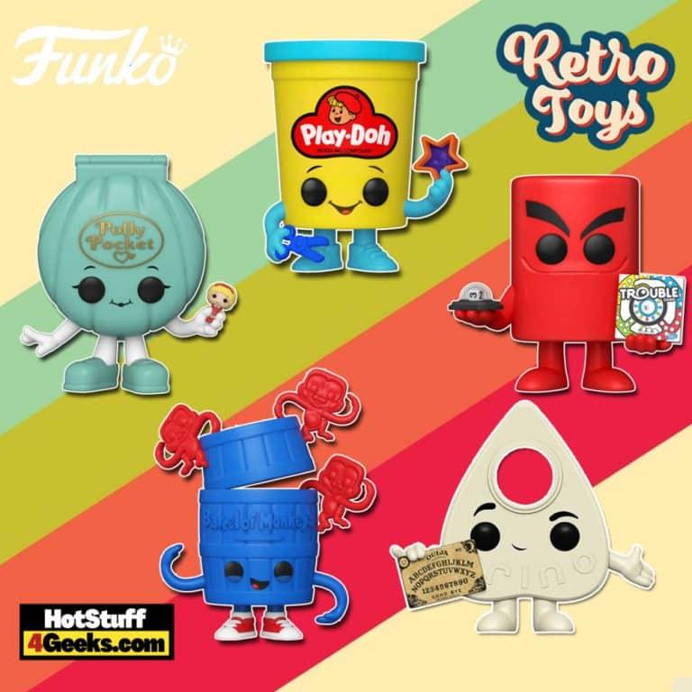 Funko Pop! Retro Toys: Polly Pocket Shell, Barrel of Monkeys, Trouble Board, Play-Doh Container, Lite-Brite Board, and Ouija Board Planchette Funko Pop! Vinyl Figures
