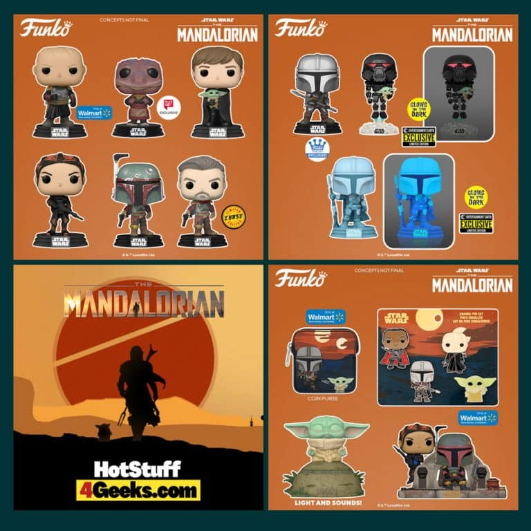 Funko Pop! Star Wars: The Mandalorian - The Child Using The Force, Boba Fett and Fennec Shand, Luke With Child, The Marshal (Cobb Vanth) With Chase, Fennec Shand, The Mandalorian Hologram GITD, Dark Trooper with Grogu GITD, and Unmasked Boba Fett Funko Pop! Vinyl Figures
