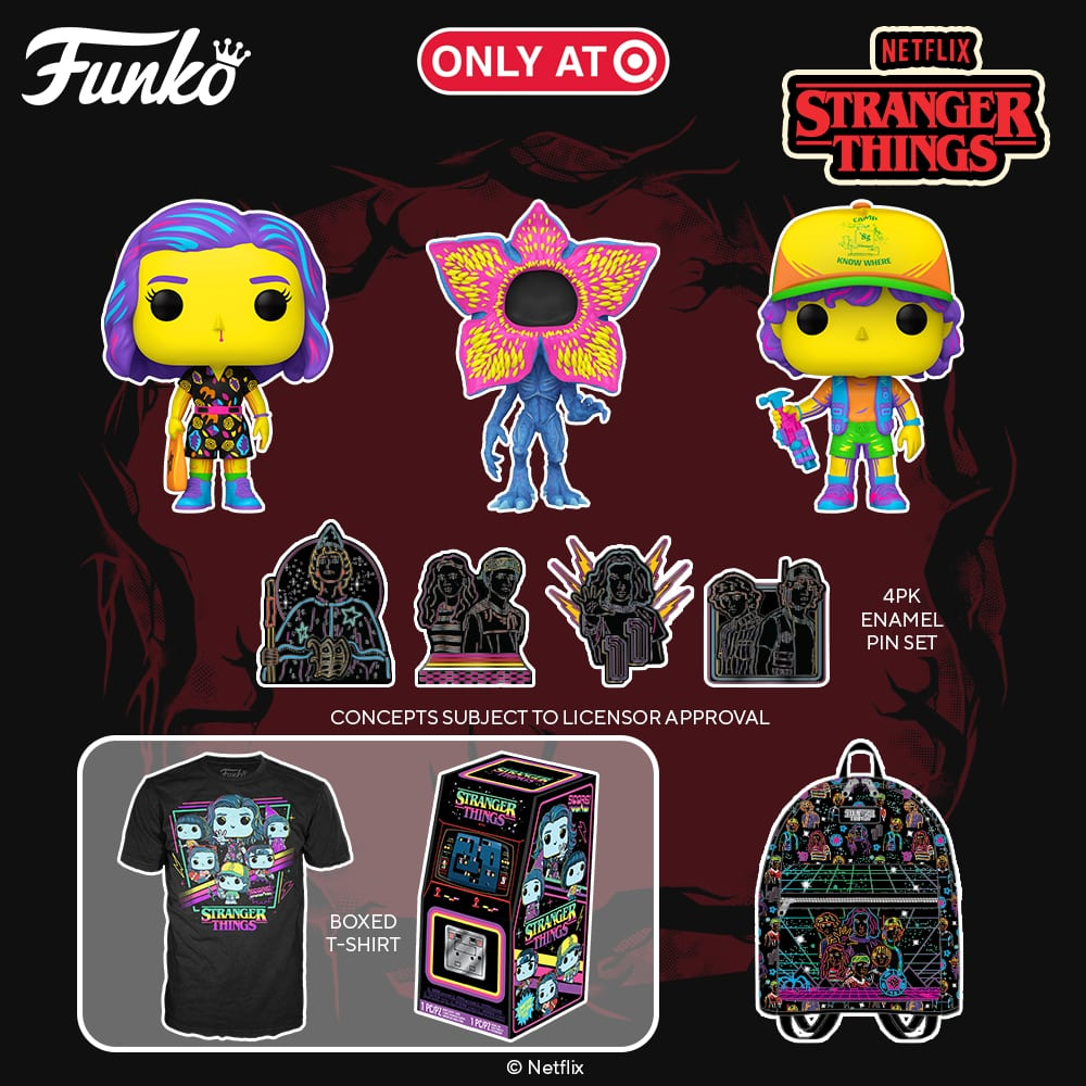 Funko POP! Stranger Things - Dustin, Eleven, and Demogorgon Black Light Funko Pop! Vinyl Figures