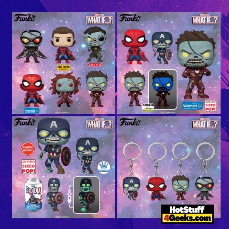 Funko Pop! Marvel: What If...? Zombie Captain America, Zombie Falcon, Zombie Scarlet Witch, Zombie Iron Man, Zombie Hunter Spidey, Doctor Strange Funko Pop! Vinyl Figures Figures