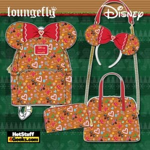 Loungefly Disney Christmas Gingerbread Mickey and Minnie Mouse October 2021 Pre-Orders (Mini Backpack, Crossbody Bag, Wallet, and Ear Headband)
