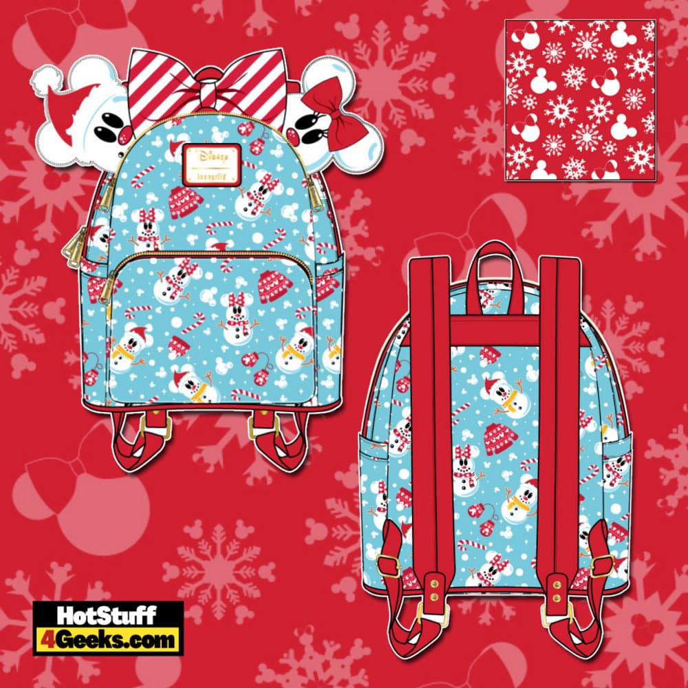 Loungefly Disney Christmas Snowman Mickey and Minnie Mouse Mini Backpack with Ears Headband