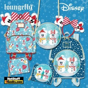 Loungefly Disney Christmas Snowman Mickey and Minnie Mouse October 2021 Pre-Orders (Mini Backpack, Crossbody Bag, Wallet, and Ear Headband)